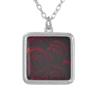 Red Roses in the Dark Square Pendant Necklace