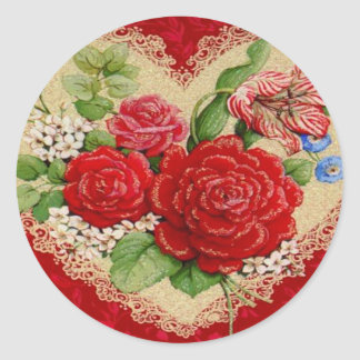 Red Roses & Lace Vintage Valentine Stickers