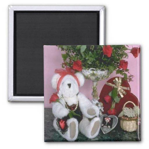 Red Roses - Love Bear Refrigerator Magnet