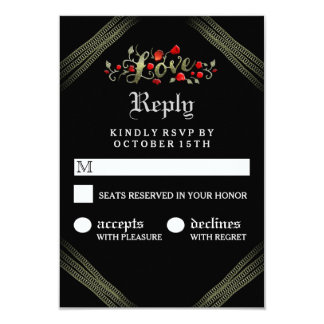 Red Roses LOVE Gothic Matching Halloween RSVP 9 Cm X 13 Cm Invitation Card