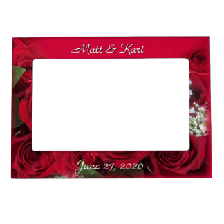 Red Roses Magnetic Frame, - personalize Photo Frame Magnets