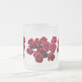 Red Roses Frosted Glass Mug