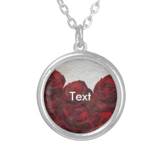 Red Roses Oil Textured Round Pendant Necklace