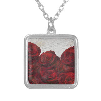 Red Roses Oil Textured Square Pendant Necklace