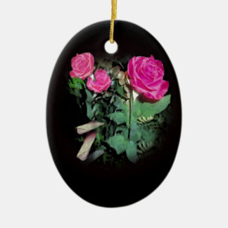Red Roses on Black Background Christmas Ornaments