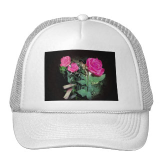 Red Roses on Black  Background Mesh Hat