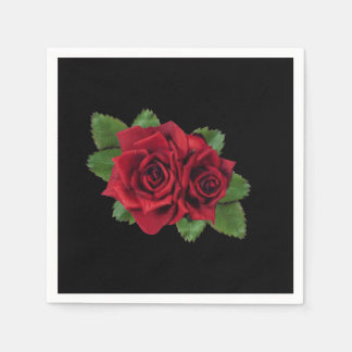 Red Roses on Black Disposable Napkins