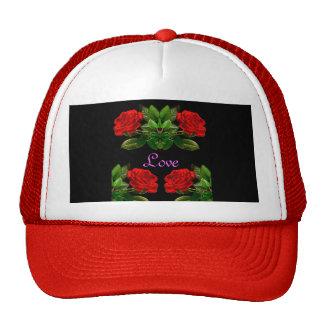 Red Roses on Black Velvet Floral Abstract Design Cap