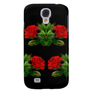 Red Roses on Black Velvet Floral Abstract Design Galaxy S4 Case