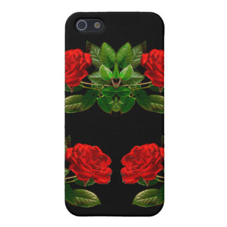 Red Roses on Black Velvet Floral Abstract Design iPhone 5/5S Case