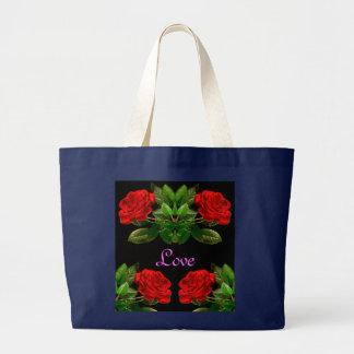 Red Roses on Black Velvet Floral Abstract Design Large Tote Bag