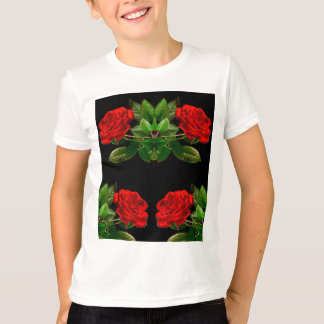 Red Roses on Black Velvet Floral Abstract Design Tee Shirt