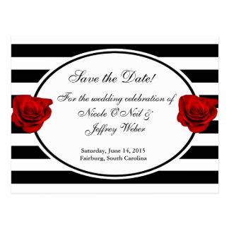 Red Roses on Black & White Wedding Save the Date Postcard