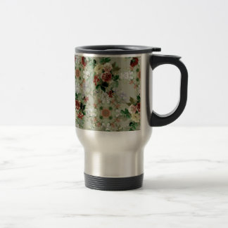 Red Roses on Green Mugs