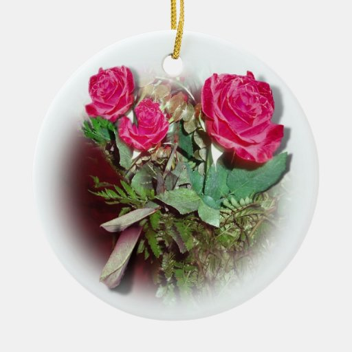 Red Roses on White Background Ornaments