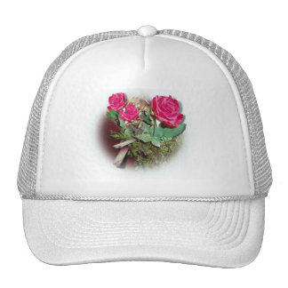 Red Roses on White Background Trucker Hats