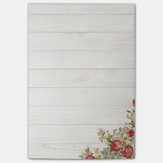 Red roses on wood post-it® notes
