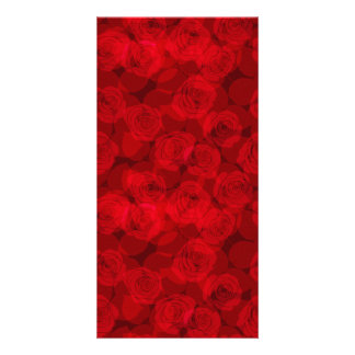 Red roses personalised photo card