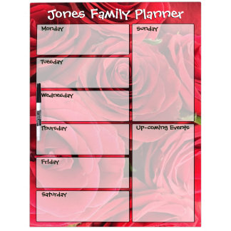 Red Roses Personalized Family Weekly Planner Dry Erase Whiteboards