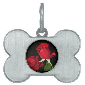 Red Roses Pet Name Tag