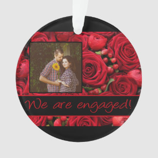 red roses photo engagement announcement ornament