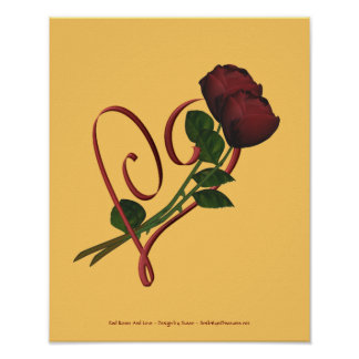 Red Roses Red Heart Flower Poster Print