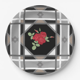 Red roses , retro paper plate
