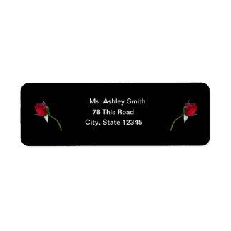 Red Roses return label Return Address Label