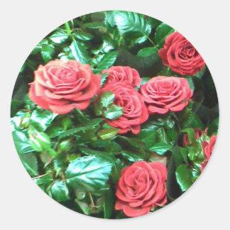 Red roses round sticker