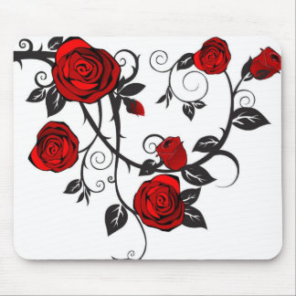 Red Roses Scrolling Vine Mouse Pads