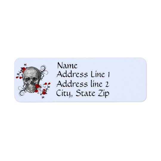 Red Roses Skull Address Label