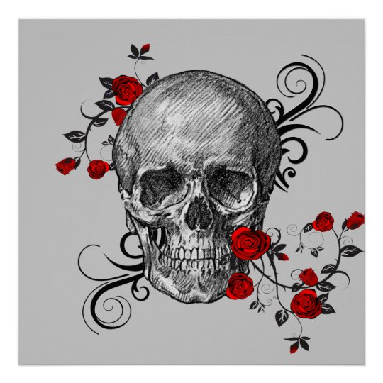 Red Roses Skull Poster Zazzle Co Uk