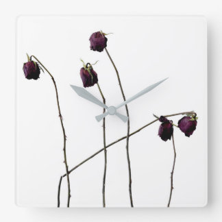 Red Roses Square Wall Clock