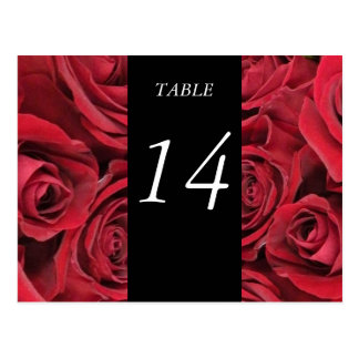 Red Roses Table Number Card Postcard