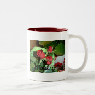 "Red roses ""Thank You"" greetings Two-Tone Mug"