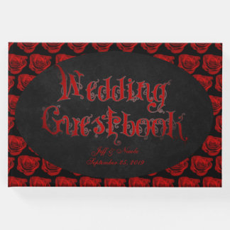 Red Roses Victorian Goth Wedding Guest Book