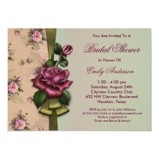 Red Roses Vintage Bridal Shower Invitations