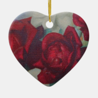 Red Roses Vintage Fabric Ornament Ceramic Heart Ornament