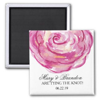 Red Roses Watercolor Floral Wedding Square Magnet