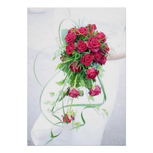 Red Roses Wedding Bouquet Posters