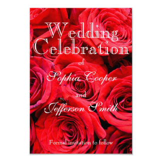 Red Roses Wedding collection 9 Cm X 13 Cm Invitation Card
