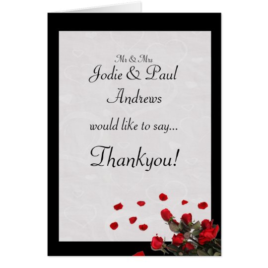Red Roses Wedding - Engagement Thankyou Card