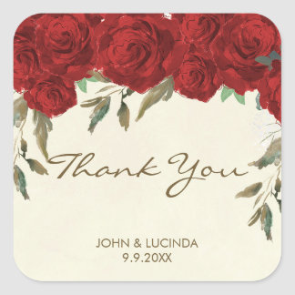 red roses wedding favors sticker thank you