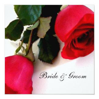 "Red Roses Wedding Invitations 5.25"" Square Invitation Card"