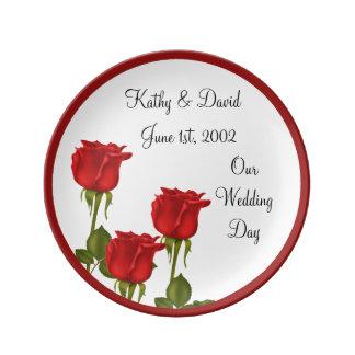 Red Roses Wedding Porcelain Plates
