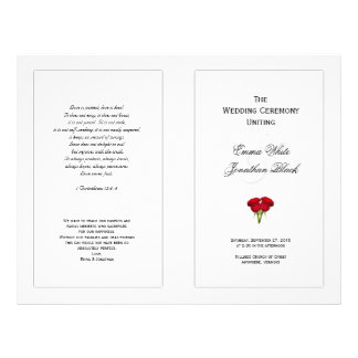 Red Roses Wedding Program Template 21.5 Cm X 28 Cm Flyer
