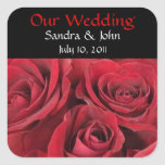 Red Roses Wedding Stickers