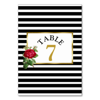 Red Roses Wedding Table Number Card