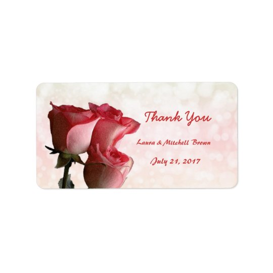Red roses Wedding Thank you Address Avery Label