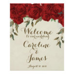 Red roses wedding welcome reception sign poster